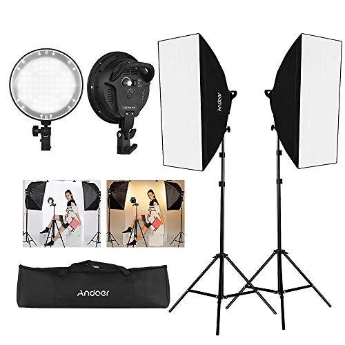 Andoer Softbox Fotostudio LED-Beleuchtungsset mit 20 * 28 Zoll Softboxen + 45W Bicolor-Temperatur 2700K / 5500K Dimmbare LED-Leuchten + 2 Meter Lichtstative Tragetasche