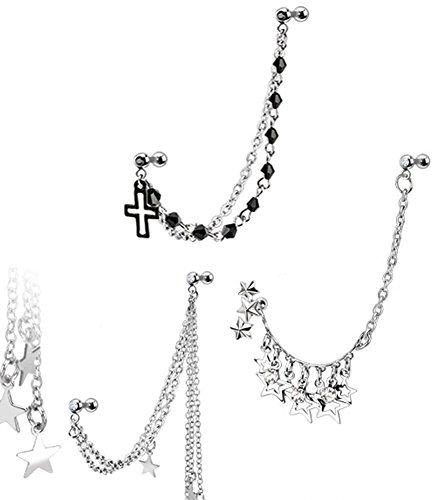 Body Jewellery Shack 3x Helix-Ohrringe, für gepiercte Ohren, Ohrläppchen, Tragus, Knorpel, mit Kette verbunden, Sterne, Rosenkranz-Perlen - Rosenkranz Clip