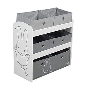roba Spielregal Miffy, Spielzeugregal mit fünf Stoffboxen für Kinder, Aufbewahrungsregal fürs Kinderzimmer, Spielregal…