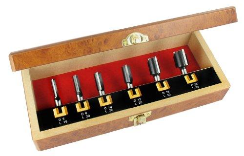 ENT 6-tlg. HW Oberfräser Nutfräser Set - Ø 6 - 8 - 10 - 12 - 16 - 20 mm - Schaft Ø 8 mm