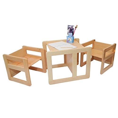 Obique Ltd 3 in 1 Multifunktionale Kindermöbel im Dreier Set bestehend aus einem Multifunktionalen Tisch und zwei Multifunktionale Kinderstühle