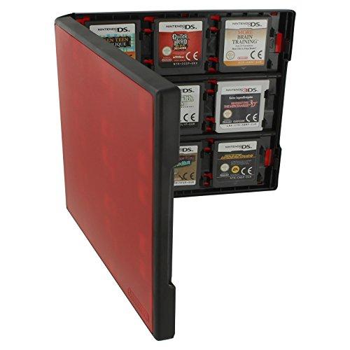 Assecure-Caja de almacenamiento con 18 en 1, con sistema de almacenamiento para 2 cartuchos de Juego de la Nintendo 3DS, diseño de New XL 3DS, 3DS, 3DS, DSi XL XL,, 2DS y DS Lite, DSi y DS, color rojo y negro