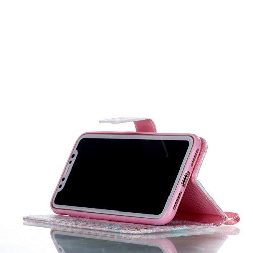 Vandot Ultra Slim Per Iphone 8 Custodia in Pelle ,Portafoglio Porta Carte e Protettiva, Flip Case per Iphone 8 Cover + 1 X Hairball Cinturino + 1 X Penna-Tigre Bianca Dipinto 21