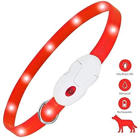kolpop LED Leuchthalsband Hund, Hundehalsband Leuchtend USB Wiederaufladbar Led Halsband für Hunde Längenverstellbarer Hunde leuchthalsband 3 Modus Halsband Hund Leuchtend für Hunde und Katzen