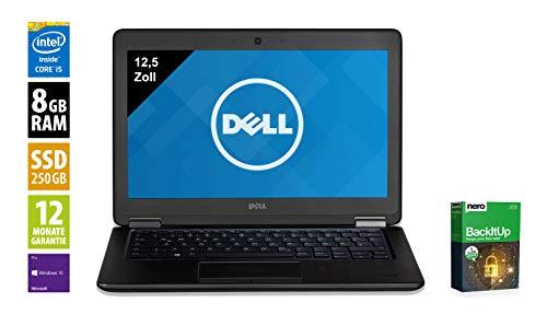 Dell Latitude E7250 | Notebook | Laptop | 12,5 Zoll (1366x768) | Intel Core i5-5300U @ 2,3 GHz | 8GB DDR3 RAM | 250GB SSD | Windows 10 Pro (Zertifiziert und Generalüberholt)
