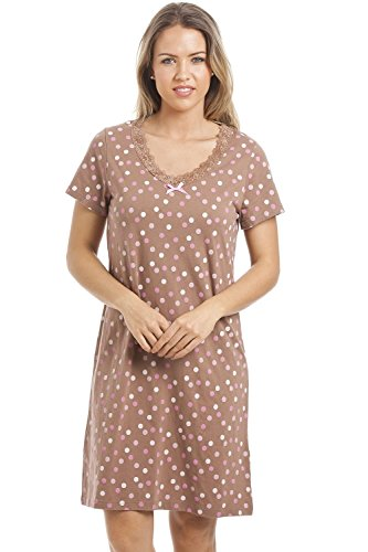 Camille Womens Various Colour and Print Smooth Soft Cotton Summer Nightdresses 18/20 Brown Polka Dote