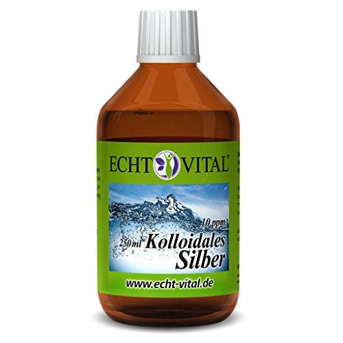 Echt Vital Kolloidales Silber 10 ppm - 1 Flasche mit 250 ml - Reinst-Silber (Reinheitsstufe 99,99%) -