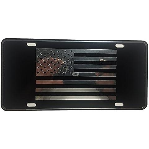 customonsterdesigns US Bandiera Bandiera Americana Targa Targa Cromata a specchio argento su nero specchio targa S1 - Novità American Flag