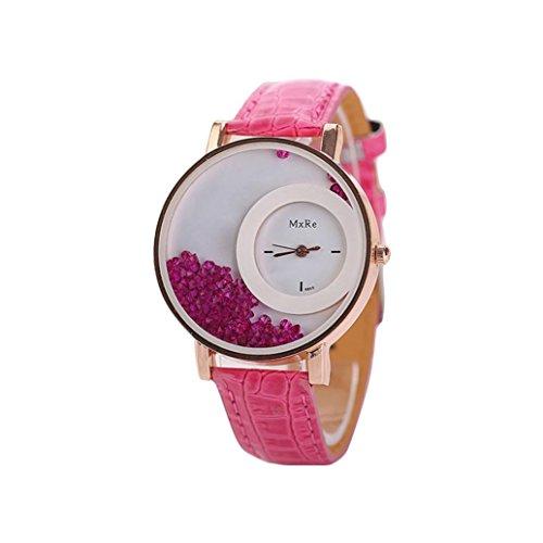 HUIHUI Uhren Damen, Geflochten Armbanduhren Günstige Uhren Wasserdicht Casual Strass Rivet Kette Runde Quarz Analog Armband Armbanduhr Coole Uhren Lederarmband Mädchen Frau Uhr (Rose rot)