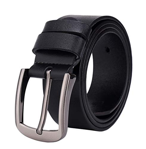ES-AP Cow Leather Belt For Men, Casual Jeans Belt With Buckle Design, Simple And Durable Orange / Black / Brown Belt Length 48 Inches