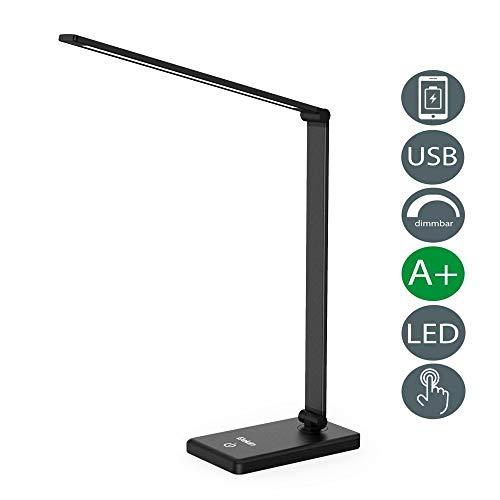 LED Schreibtischlampe Dimmbar, Elekin LED Schreibtischleuchte USB,Energiesparlampe mit Touchfeld Wiederaufladbarem, Leselampe mit 3 Helligkeitsstufen, Schwarz