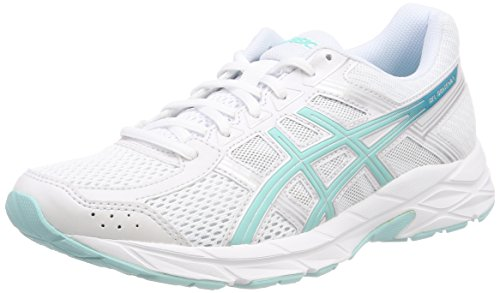ASICS Women's Gel-Contend 4 Competition Running Shoes, (White/Aruba Blue/Silver 0188), 39.5 EU (6 UK)