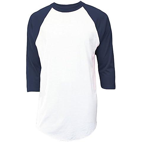 soffe Raglan Béisbol undershirt–White/Navy–XL