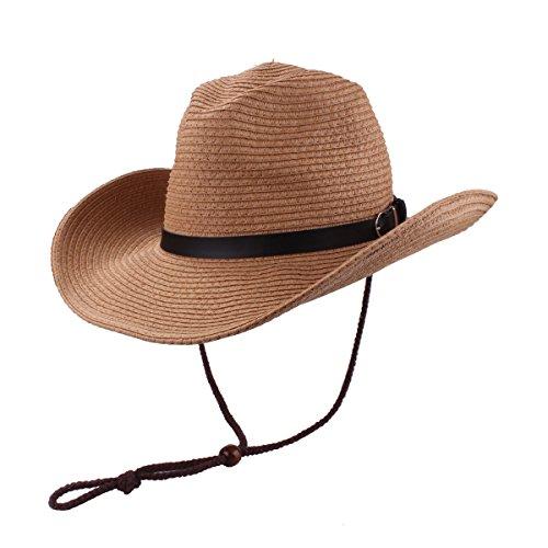 (YOPINDO Herren Cowboy Hut Stroh Sunhat breiten Krempe westlichen Cowgirl Beach Sun Caps (9214 Khaki))