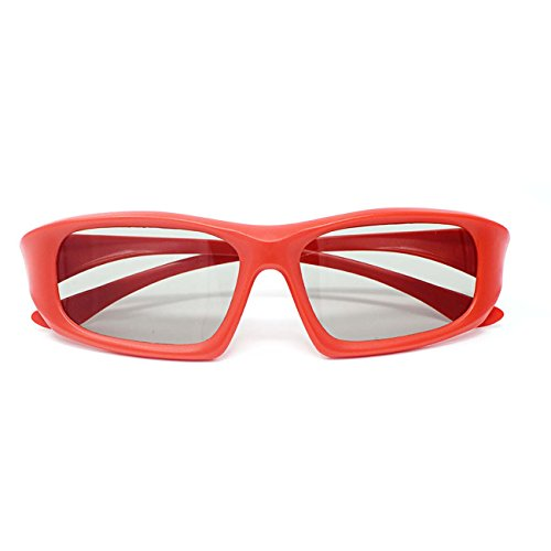 Family pack of 4 Pairs of Universal Passive 3D Glasses for all TV and cinema 2 Adults red and black and 2 kids in pink and blue
