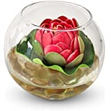 Tiedribbons® Round Glass Vessel With Faux Lotus And Natural Stones Flower Vases For Home Décor With Flowers | Diwali Home Decor | Diwali Gifts For Office