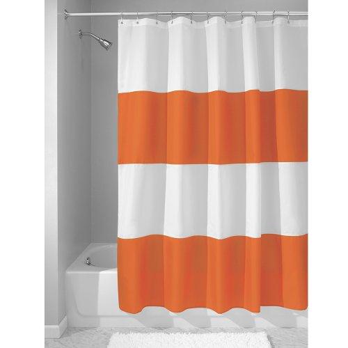 InterDesign Zeno Duschvorhang Textil | wasserdichter Duschvorhang mit Streifen | waschbarer Duschvorhang in der Größe 183,0 cm x 183,0 cm | Polyester orange/weiß