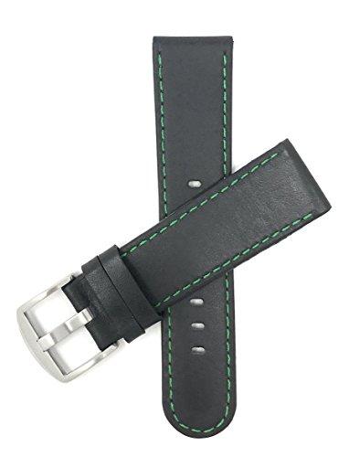 Bandini 22mm Schwarz Mit Grüner Naht Herren Leder Uhrenarmband, Sport
