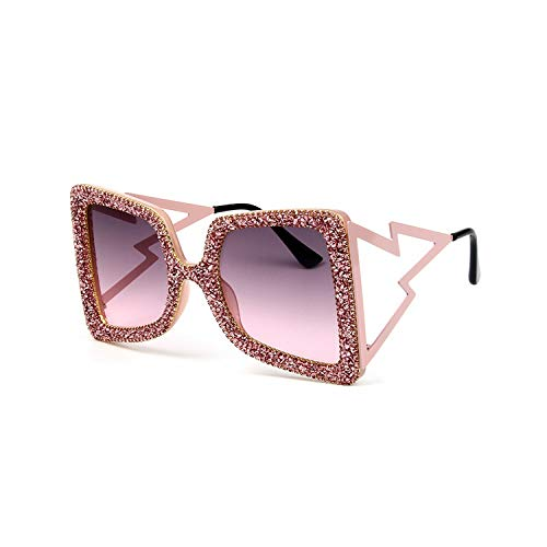 Klassische Sportsonnenbrille, Oversize Sunglasses Women Big Wide Temple Bling Stones NEW Fashion Shades UV400 Vintage Glasses Oculos pink