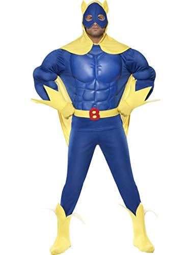 Halloweenia - Herren Männer Superheld Bananaman Kostüm mit Oberteil, Hose, Umhang, Gürtel, Handschuhe & Stiefelüberzieher, perfekt für Karneval, Fasching und Fastnacht, M, Blau