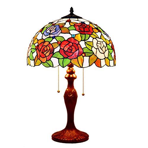 Tiffany Style Victoria Tischlampe Wohnzimmer Schlafzimmer 2-Licht Rose Schreibtischlampe dekoratives Licht 16-Zoll-Schatten