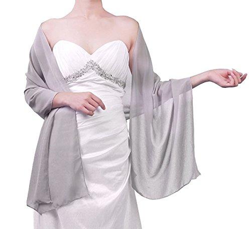Beyonddress Damen Trend Fashion Schal Cape Wraps Sheer weichen Chiffon Braut-Shawl für Besondere Anlässe (27 (Silber Cape)