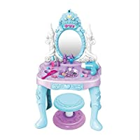 XUANKU children ice princess game house ice snow princess makeup mirror girl dressing table toy table lighting table music