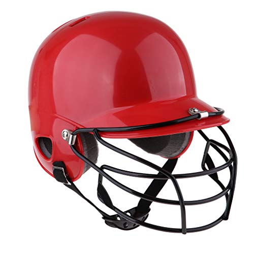 Fenteer American Football Helm mit Gitter Baseball Bating Helm Softball Schutzhelm - Rot