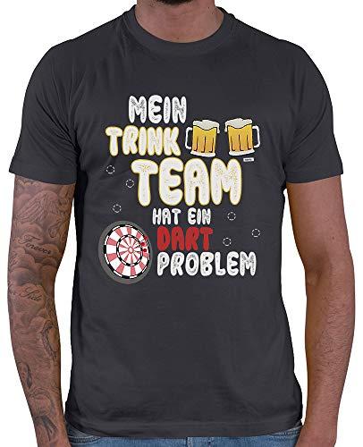 t Mein Trink Team Hat EIN Dartproblem 2 Dart Darten Dartscheibe Sport Fun Trikot Inkl. Geschenk Karte Dunkel Grau XL ()
