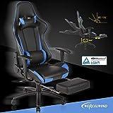 mecor Racer-X Gaming Stuhl Racing Stuhl mit Fußstütze PC Stuhl Schwarz/Blau