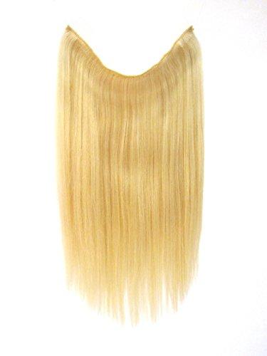 Natural Hair Secrets Menschliche Haarverlängerungen - 100% Remy Natural Human 19 Inch Or 21 inch Hair Extensions W/Invisible Wire For Quick Attachment (19 Inches, 60_WhiteBlond)