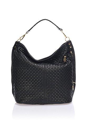 """Show Some Love """"Federica"""" Italienische Handtasche Damen Henkel-Tasche Schultertasche Shopper echt Leder. Made in Italy. (schwarz)"""