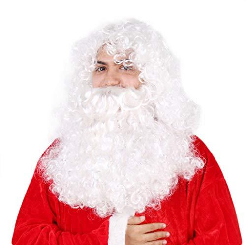 eiße Santa Wig Holiday Christmas Supplies alter Mann bärtige Perücke Anzug ()