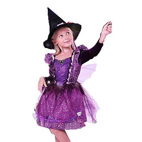 Nettes Mädchen Kostüm Vampir - AUED Halloween Kinder Mädchen Kleidung Lila Kleid Nette Hexe Vampir Hexe Mädchen Kostüm Kostüm Maskerade Cosplay,160