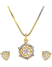Cardinal Gold Color Latest Design Stylish Traditional Party Wear Necklace Pendant Set With Earring For Women/Girls