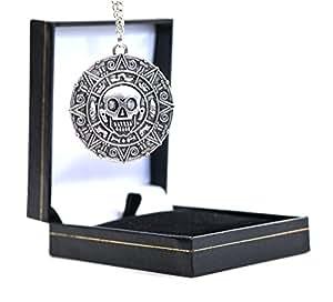 """Beaux Bijoux Collana con medaglione a ciondolo a forma di moneta azteca con teschio, in stile """"Pirati dei Caraibi"""", in confezione regalo, colore: argento"""