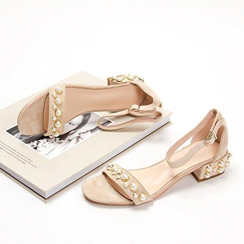 XY&GKIm Sommer Damen Sandalen Schnalle mit Leder ein Wort mit Dicken von high-heeled Sandalen, komfortabel und schön gefolgt 39 Beige (Pearl with 3.5cm)