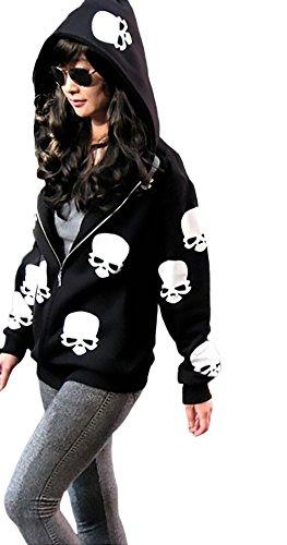 Damen Sweatshirt Women Sweatjacken Mit Kapuze Langarm Zipper Vintage Totenköpfe Gemustert Herbst Winter Casual Hoodie Pullover Kapuzenpullover (40 Einzigartige Halloween Kostüme)