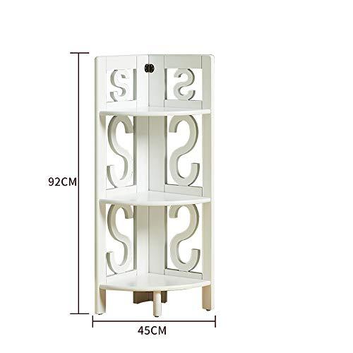 Mensole duo scaffale per scaffali ad angolo per scaffali da esposizione ad angolo libreria a muro a 3 livelli / 5 livelli scaffali (colore : bianca, dimensioni : 45 * 92cm)