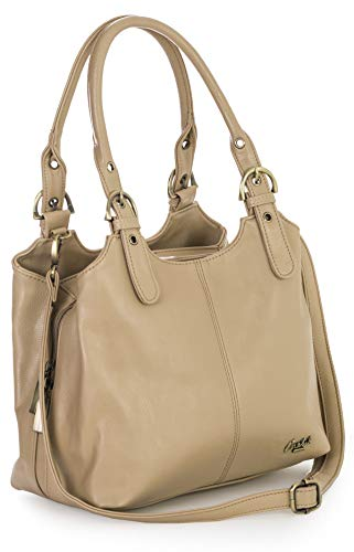 Mabel London Womens Multiple Pockets Medium Size Long Strap Shoulder Handbag Bag - AMELIA [Beige]