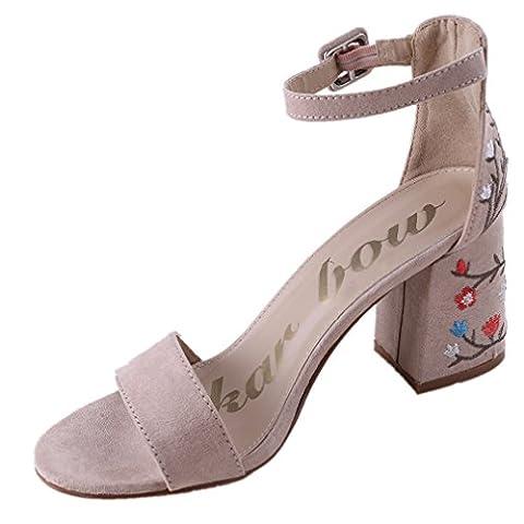 HENGSONG Femme Eté Brodées Sandales à Talons Épais Talons Hauts Chaussures Milan Style Sandales (EU35, Couleur Nue)