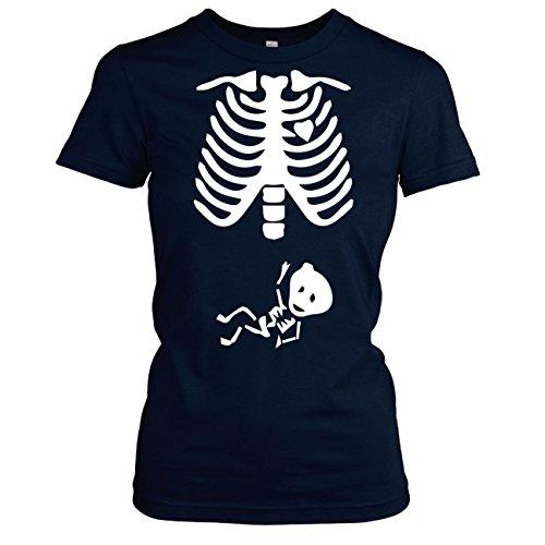 TEXLAB - Skelett - Damen T-Shirt Dunkelblau