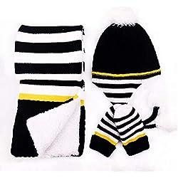 Berretto Con Pompon In Maglia Per Bambini Set Di Sciarpe E Guanti Per Cappello  Cappello Invernali 244c0e06ef36