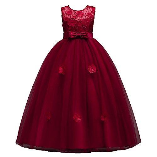 Mbby vestiti cerimonia bambine,7-16 anni vestito da carnevale per bambina abiti principessa senza manica fiori in pizzo tulle abito tutu per ragazza