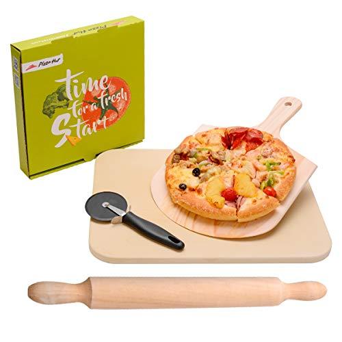 LAOYE Pizzastein für Gasgrill & Backofen, 4 in 1 Pizzastein Set inkl. Pizzaschieber + Pizza Stein + Pizzaschaufel + Nudelholz, Pizza Stone XXL 38cm, rechteckig, zur Pizza Brot Gebäck Kuchen