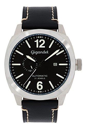 Gigandet G16–004–Montre pour Hommes, Bracelet en Cuir Couleur Noir