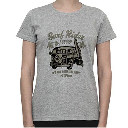 Surf Rider California. Retro Camping Van Artwork Womens T-Shirt Medium