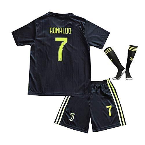 BTA APPAREL 2018/2019 Juventus #7 Cristiano Ronaldo Third Kinder Fußball Trikot Hose und Socken Kindergrößen (6-8 Jahre)