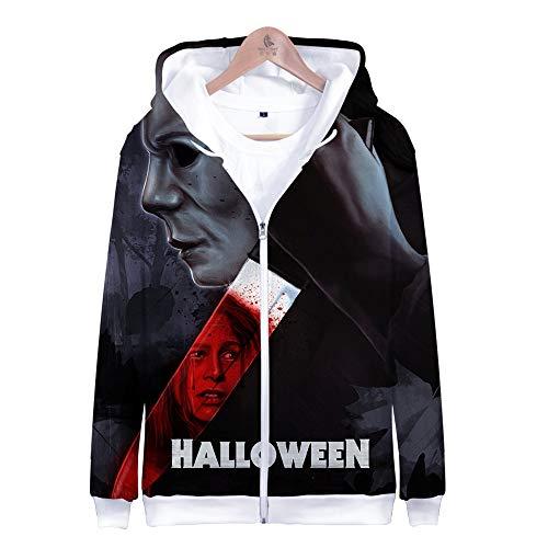 ruck Männlich Weiblich Hoodie Kapuzenpullover Langarm Sweatshirt Kapuzenjacke Mit Taschen Reißverschluss Michael Myers Halloween ()