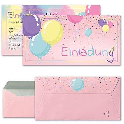 Any Age Art Luftballons Einladungskarten mit Umschlägen Set 12 - Kindergeburtstag Einladungen Kinder Mädchen Geburtstag Karten Feier Party Ballons (Rosa 12 Einladungskarten + 12 Umschlägen)